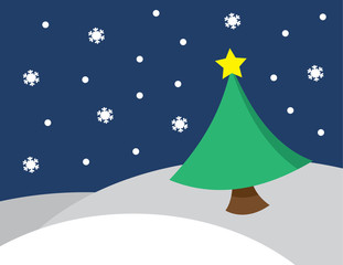 Winter scene snowing with star on top of christmas tree