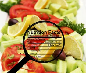 Nutrition facts on fresh salad
