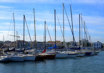 Yacht marina. Lots of beautiful yachts moored.