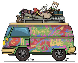 vintage hippie van, painted, with luggage on top