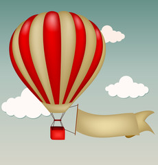 Hot air balloon with blank sign