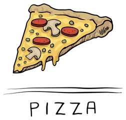hand drawn Pizza slice, icon, symbol