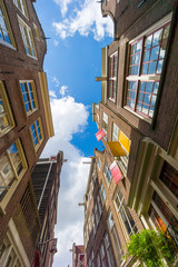 Facades of houses in old city in Amsterdam
