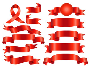 The collection red ribbons banners