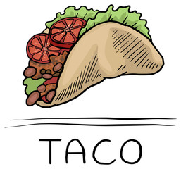 Hand drawn , Taco fast food,icon, symbol