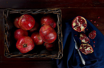 Kitchen table with pomegranates