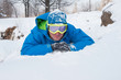 Relaxing snowboarder