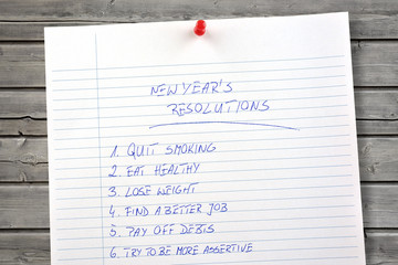 New Years resolutions listed