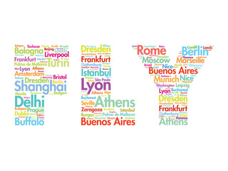 FLY text travel concept made with words cities names, vector