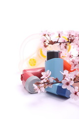 Asthma inhalers with extension tube for children