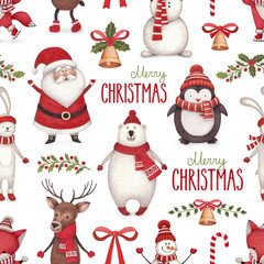 Watercolor christmas illustrations. Seamless pattern