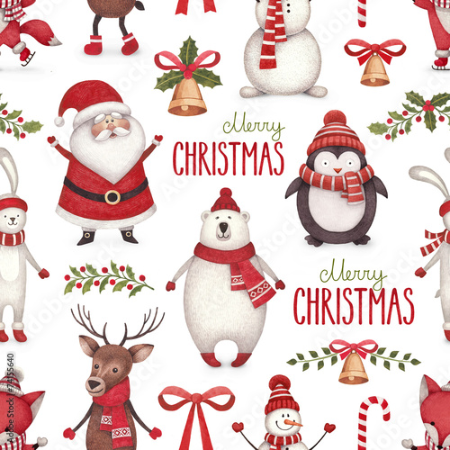 Tuinposter Uitvoering Watercolor christmas illustrations. Seamless pattern