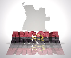 Word Angola on a map background