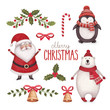 Watercolor christmas illustrations collection - 74156082