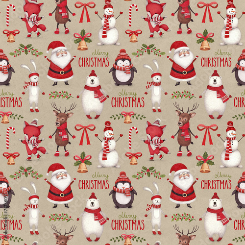 Cotton fabric Watercolor christmas illustrations. Seamless pattern