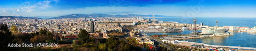 canvas print picture Panorama of Barcelona with Port
