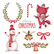 Watercolor christmas illustrations collection - 74156470