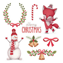 Watercolor christmas illustrations collection