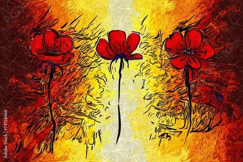 Foto Spatwand Bloemen Schilderen Abstract flower oil painting