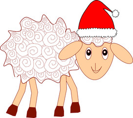 White fluffy  fun curly sheep in a red Christmas hat