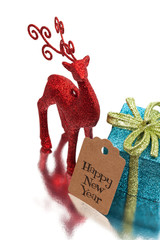 happy new year greeting message, christmas deer and gift box