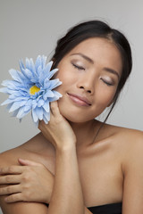 Asian beauty woman with flowers