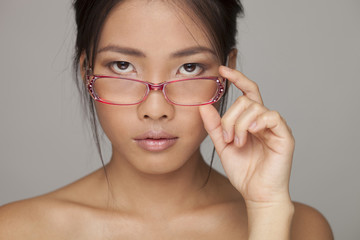 Asian beauty woman with glasses