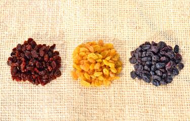 Heaps of assorted raisins