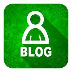 blog flat icon, christmas button