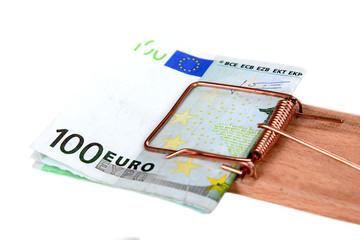 Mausefalle mit Euroscheinen