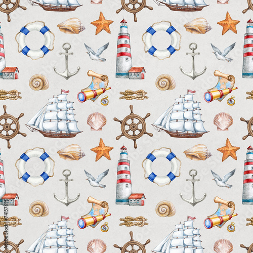 Staande foto Kunstmatig Seamless nautical pattern