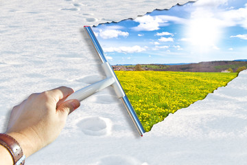 Schnee wegwischen - der Frühling kommt