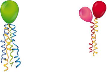 Karneval, Geburtstag, Partys - Karte mit Luftballons