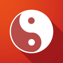 ying yang  long shadow icon