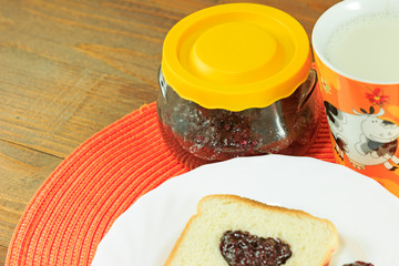Jam and bread, breakfast