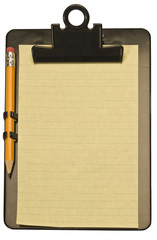 Yellow Notepad and Pencil on Black Plastic Clipboard