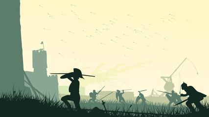 Vector illustration of assault of medieval castle.