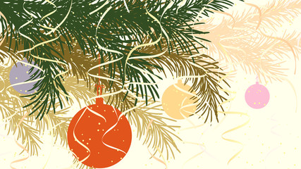 Horizontal abstract illustration of Christmas spruce branch.
