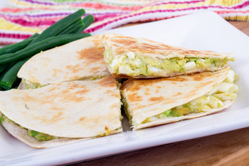 egg and avocado tortilla quesadilla breakfast