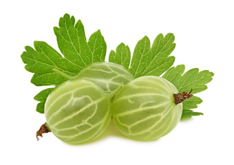 Ripe green gooseberry with green leaves (isolated)
