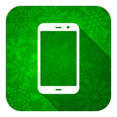 smartphone flat icon, christmas button, phone sign