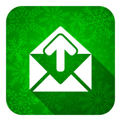 email flat icon, christmas button, post message sign