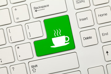 White conceptual keyboard - Coffee cup (green key)