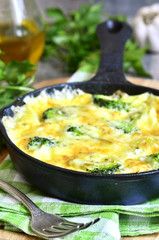 Frittata with potato and broccoli.