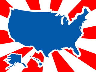 USA country shape in background of flag colors