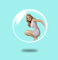 Woman trapped inside a soap bubble.