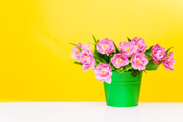 Green pot with pink flowers on yellow background