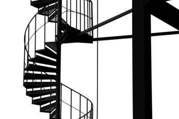 Spiral stairway structure, black and white.