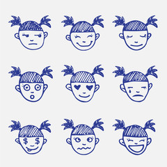Vector hand drawn doodle emoticons set. Girl's head emotions