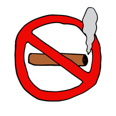 Hand-drawn no smoking sign